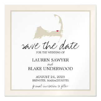 Brewster Cape Cod Wedding Save the Date Magnetic Card