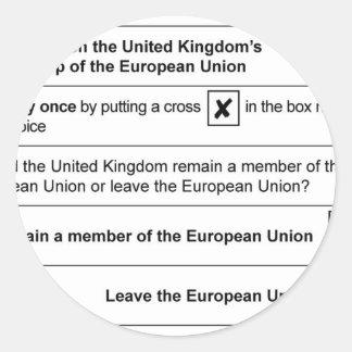 Brexit referendum in UK Classic Round Sticker