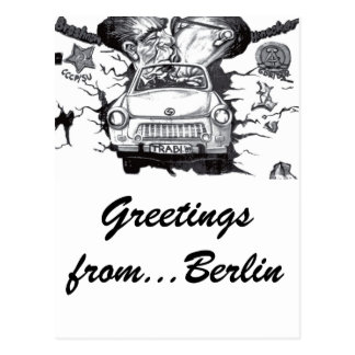 Brezhnev & Honecker,East Side Gallery, Berlin Wall Postcard