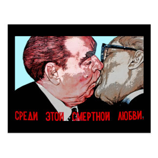 Brezhnev & Honecker Kiss,East Side Gallery, Berlin Postcard
