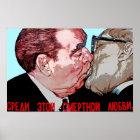 Brezhnev & Honecker Kiss,East Side Gallery, Berlin Poster