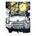 Brezhnev & Honecker, Trabant Car , Berlin (pst) Postcard