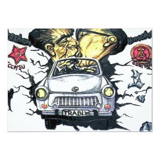 """Brezhnev y Honeker, coche trabante, Berlín (pst) Invitación 5"""" X 7"""""""