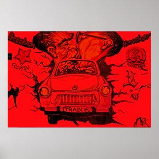 Brezhnev y Honeker coche trabante Berlín - rojo Impresiones