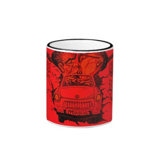 Brezhnev y Honeker, coche trabante, Berlín - rojo Tazas De Café