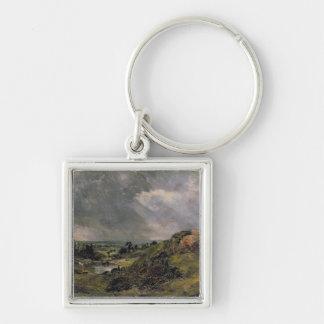 Brezo de Hampstead, charca de la colina de la rama Llavero Cuadrado Plateado