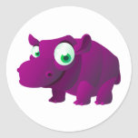 Brezo el Hippopotamus Pegatinas Redondas