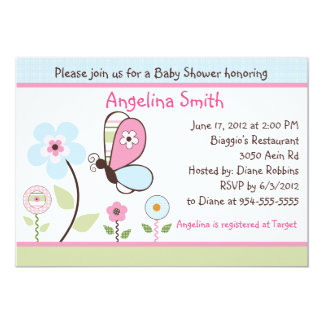 "Bria Garden/Butterfly Baby Shower Invitation 5"" X 7"" Invitation Card"