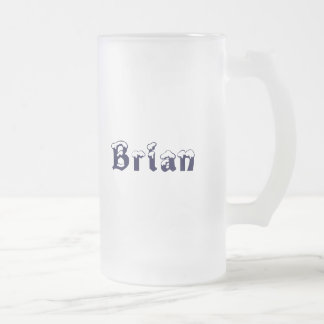 Brian-Name Style- Filler Up Baby!-Saying Frosted Glass Beer Mug