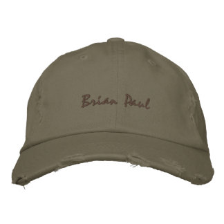 Brian Paul Destroyed Vintage Hate Army Green Cap