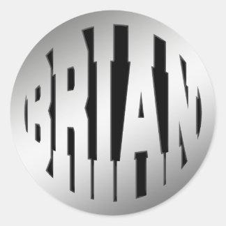 BRIAN - SILVER TEXT CLASSIC ROUND STICKER