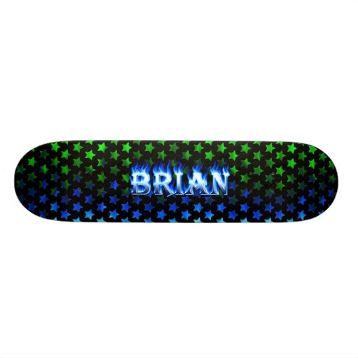 Brian skateboard blue fire and flames design