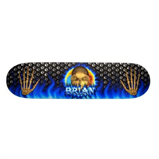 Brian skull blue fire and flames skateboard design