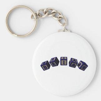 Brian Toy blocks in blue Basic Round Button Keychain