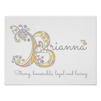 Brianna initial B doodle meaning Poster