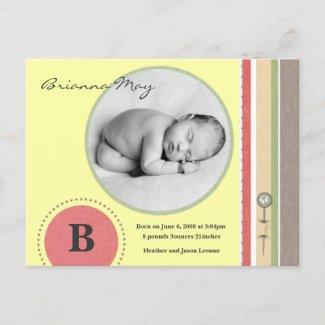 Brianna May Birth Announcement postcard