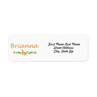Brianna (Orange Butterfly) Label