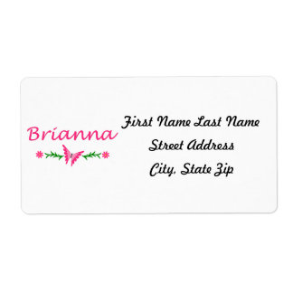 Brianna (Pink Butterfly) Label