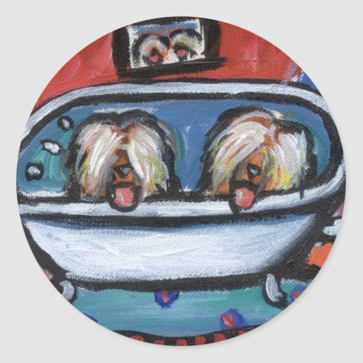 Briard bathtime round sticker