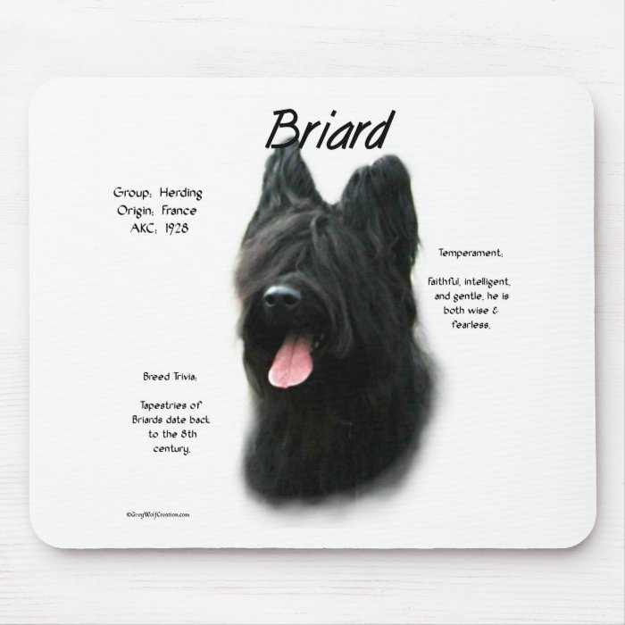 Briard (black) History Design Mouse Pad