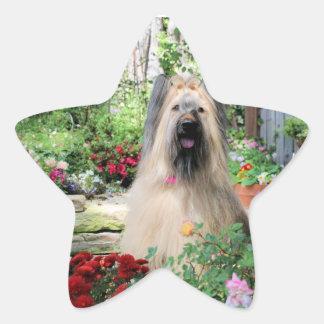 Briard Dog in Flower Garden Star Stickers