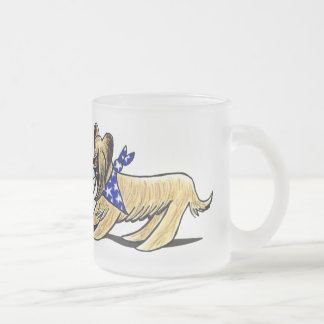 Briard Mad Hatters Off-Leash Art™ Frosted Glass Coffee Mug