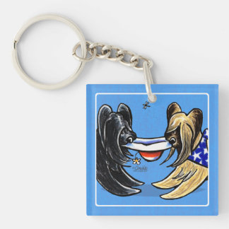 Briard Mad Hatters Off-Leash Art™ Keychain