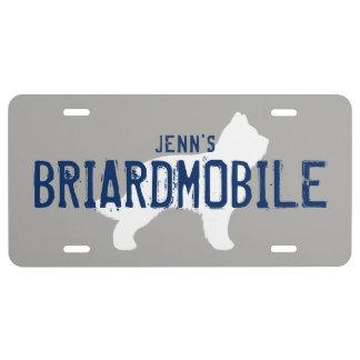 BRIARDMOBILE Briard Silhouette with Custom Text License Plate