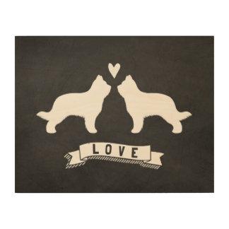 Briards Love - Dog Silhouettes w/ Heart Wood Wall Art