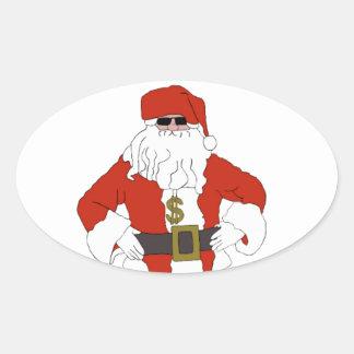 Bribe Santa Oval Sticker