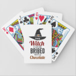 """Bribe Witch With Chocolate Candy Trick Or Treat Ha Bicycle Playing Cards<br><div class=""""desc"""">Dress up as a witch,  and collect your chocolate and candy! Nothing like scary witching fun this Halloween! Buy this cool design or purchase it as a gift for your Trick or Treat buddy.</div>"""