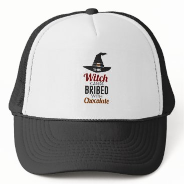 Halloween Themed Bribe Witch With Chocolate Candy Trick Or Treat Ha Trucker Hat