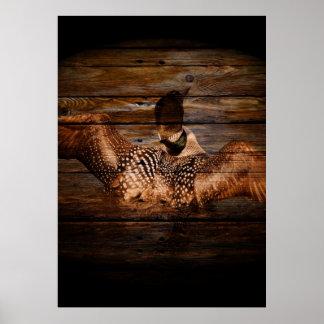 Bribón clásico en la madera del granero póster