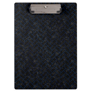 BRICK2 BLACK MARBLE & BLUE GRUNGE CLIPBOARD