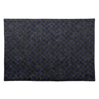 BRICK2 BLACK MARBLE & BLUE LEATHER CLOTH PLACEMAT