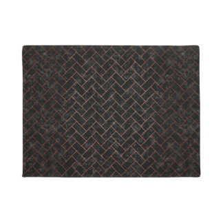 BRICK2 BLACK MARBLE & COPPER BRUSHED METAL DOORMAT