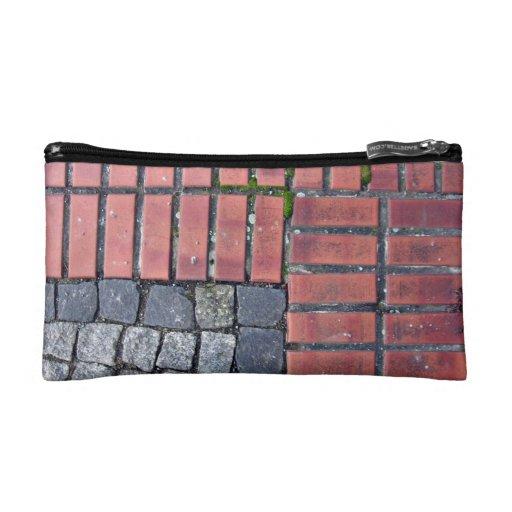 Brick and Stone Pavement Background Cosmetics Bags