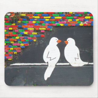 brick bird wall : graffiti wall mousepads