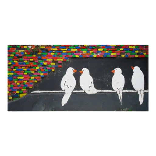 brick bird wall : graffiti wall poster