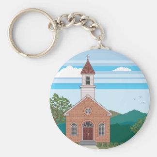 Brick church vector landscape basic round button keychain