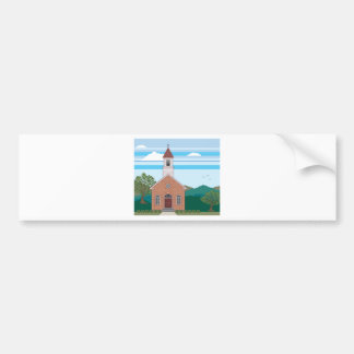 Brick church vector landscape bumper sticker
