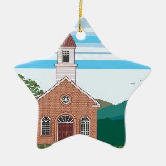 Brick church vector landscape ceramic ornament