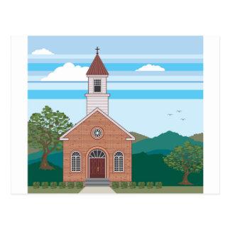 Brick church vector landscape postcard