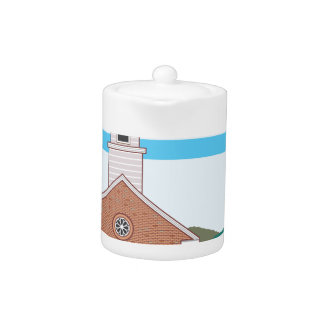 Brick church vector landscape teapot