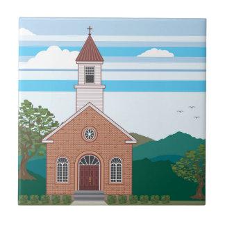 Brick church vector landscape tile