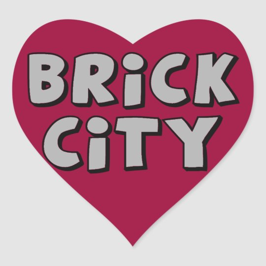 Brick City by Customise My Minifig Heart Sticker