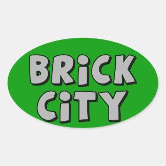 Brick City by Customise My Minifig Oval Sticker