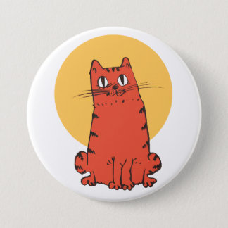 brick color cat sweet kitty funny cartoon pinback button