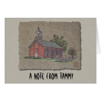 Brick Country Church Stationery Note Card