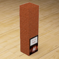 Brick design with fireplace monogrammed wine gift box